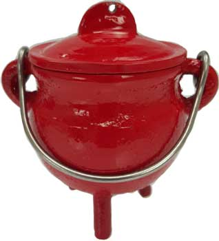Jewelry Pot (Magical Jewelry Pot Baby Cast Iron Cauldron in Bright Red with Lid and Handle 3