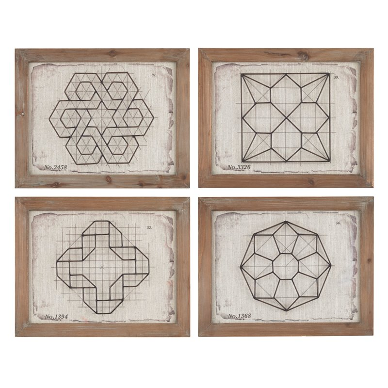 Sterling Geometric Wirework Framed Wall Art (Set of 4)