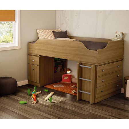 South Shore Treehouse Loft Twin Bed Harvest Maple