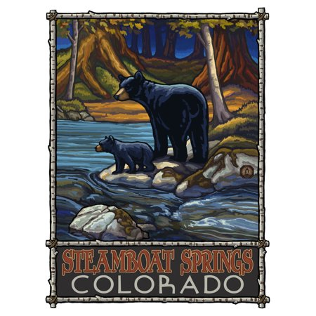 Steamboat Springs Colorado Bears In Stream Travel Art Print Poster by Paul A. Lanquist (9