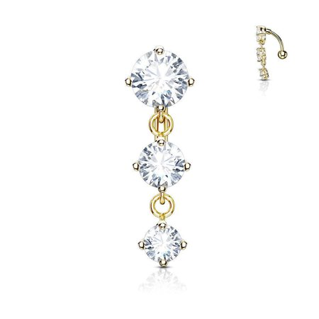 Round Reverse Belly Button Ring Design with Three Prong Clear Gems 14g