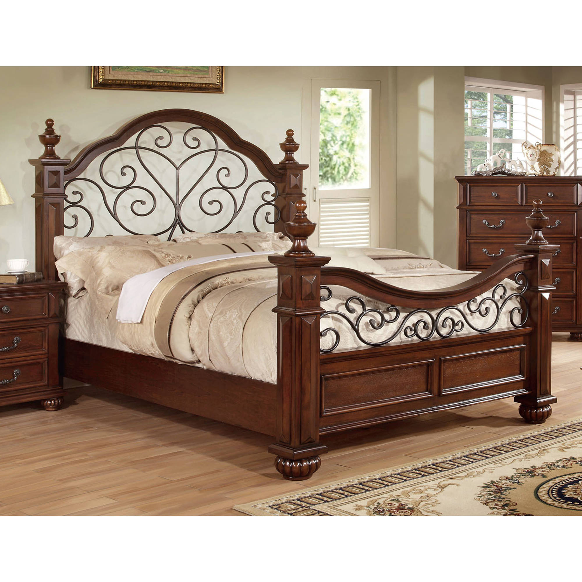Furniture of America Constance Traditional Queen Bed, Antique Dark Oak