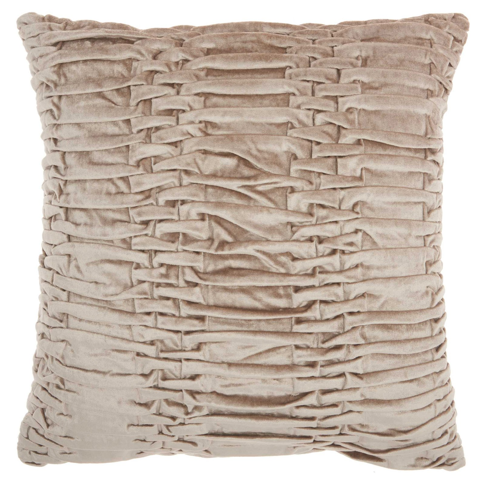 "Nourison Life Styles Ruched Velvet Decorative Throw Pillow, 18"" x 18"", Beige"