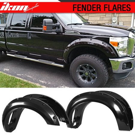 Fits 11-16 FORD F250 F350 Pocket Riveted Bolt On Black Textured Fender Flares