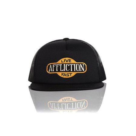 Affliction Gas Hat Adjustable Snapback Mesh Trucker Cap Black A13930 One Size