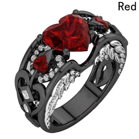 AkoaDa  NEW Heart Zircon RED Fire Opal Rings For Women Vintage Fashion Black Gold Filled Birthstone Ring Vintage Opal Cocktail Ring