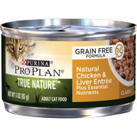 (24 Pack) Purina Pro Plan Natural, Grain Free Pate Wet Cat Food, TRUE NATURE Chicken & Liver Entree, 3 oz. Pull-Top Cans