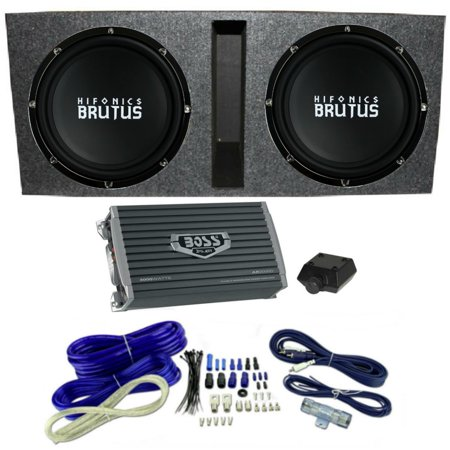 "Hifonics 15"" Ported Car Package - 2) BRZ15D4 Subwoofers, Mono Amp, Box & Wire"