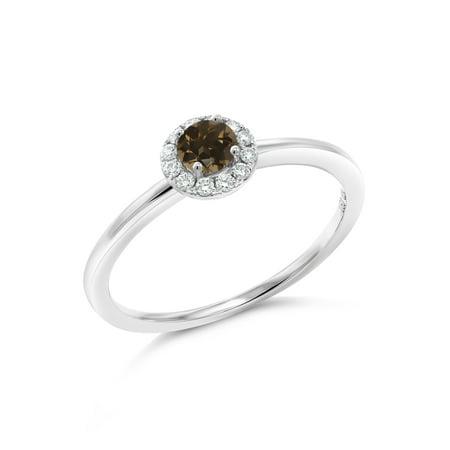 - 0.32 Ct Round Brown Smoky Quartz G/H Lab Grown Diamond 10K White Gold Ring
