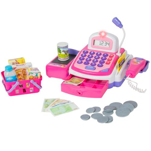 Pretend Play Electronic Cash Register Toy Realistic Actions & Sounds Pink