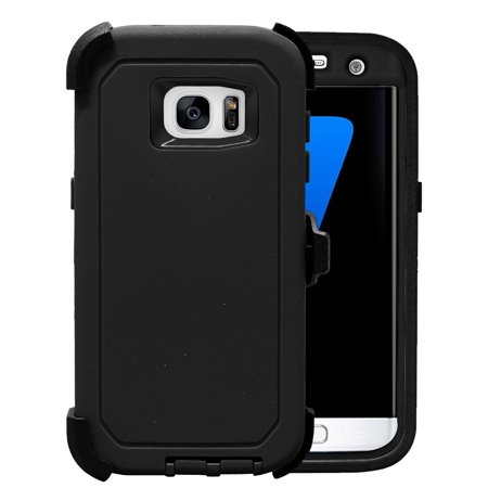 Galaxy S7 Edge Case, [Full body] [Heavy Duty Protection] Shock Reduction / Bumper Case with Clear Plastic Screen for Samsung Galaxy S7