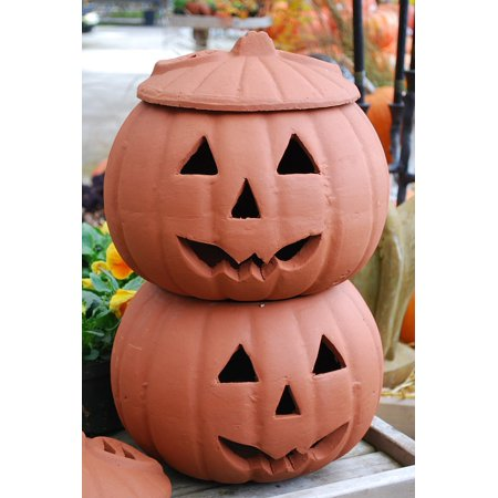 Canvas Print Clay Jack-o-lanterns Halloween Jar Pumpkins Stretched Canvas 10 x 14 (Halloween Prints)