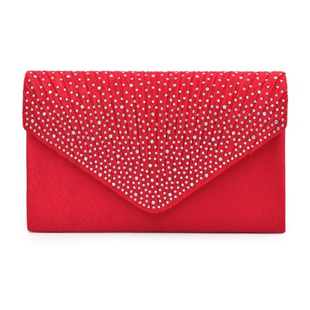 Premium Rainbow Rhinestones Pleated Front Satin Envelope Flap Clutch Evening Bag
