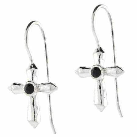 - Silver Fish hook Cross Black stone Earrings
