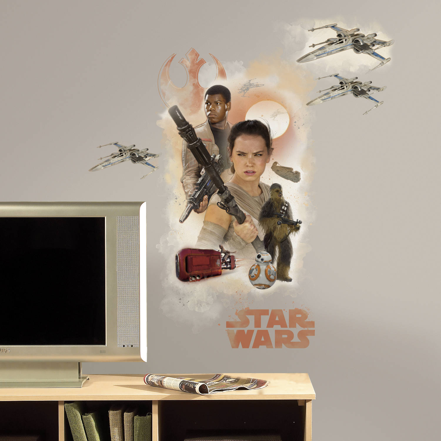 RoomMates Star Wars Episode VII Hero Burst Peel and Stick Giant Wall Decals