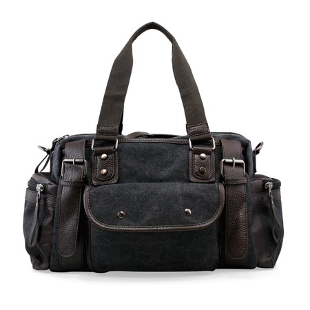 92a13ac4aa8924 Gearonic Vintage Canvas and Leather Duffel Bag Grey - Walmart.com