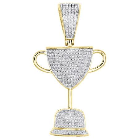 10K Yellow Gold Diamond Trophy Cup Custom Pendant 1 90