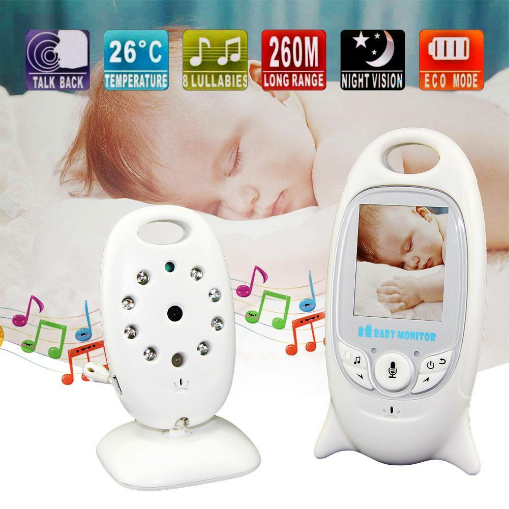 2.4GHz Wireless Baby Monitor LCD Colorful Display Night Vision Security Two Way Talk Back Temperature Display Camera US Plug, White