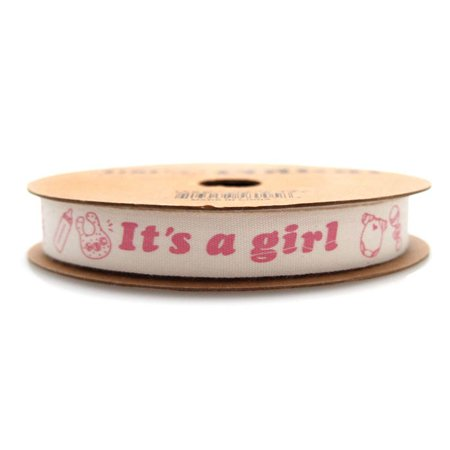 Its A Girl Baby Shower Cotton Ribbon, 5/8-inch, 10-yard (Baby Shower Ribbons)
