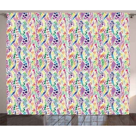 Geometric Curtains 2 Panels Set, Mixed Mosaic Figures Vivid Nature Inspired Kids Girls Hippie Contrast Design, Window Drapes for Living Room Bedroom, 108W X 84L Inches, Multicolor, by Ambesonne - Hippie Inspired Room