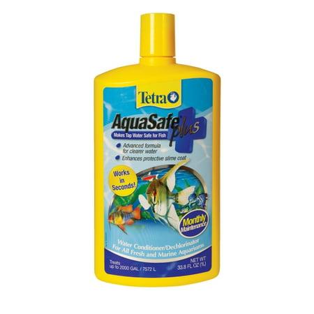 Tetra AquaSafe Plus Aquarium Water Conditioner & Dechlorinator, 33.8