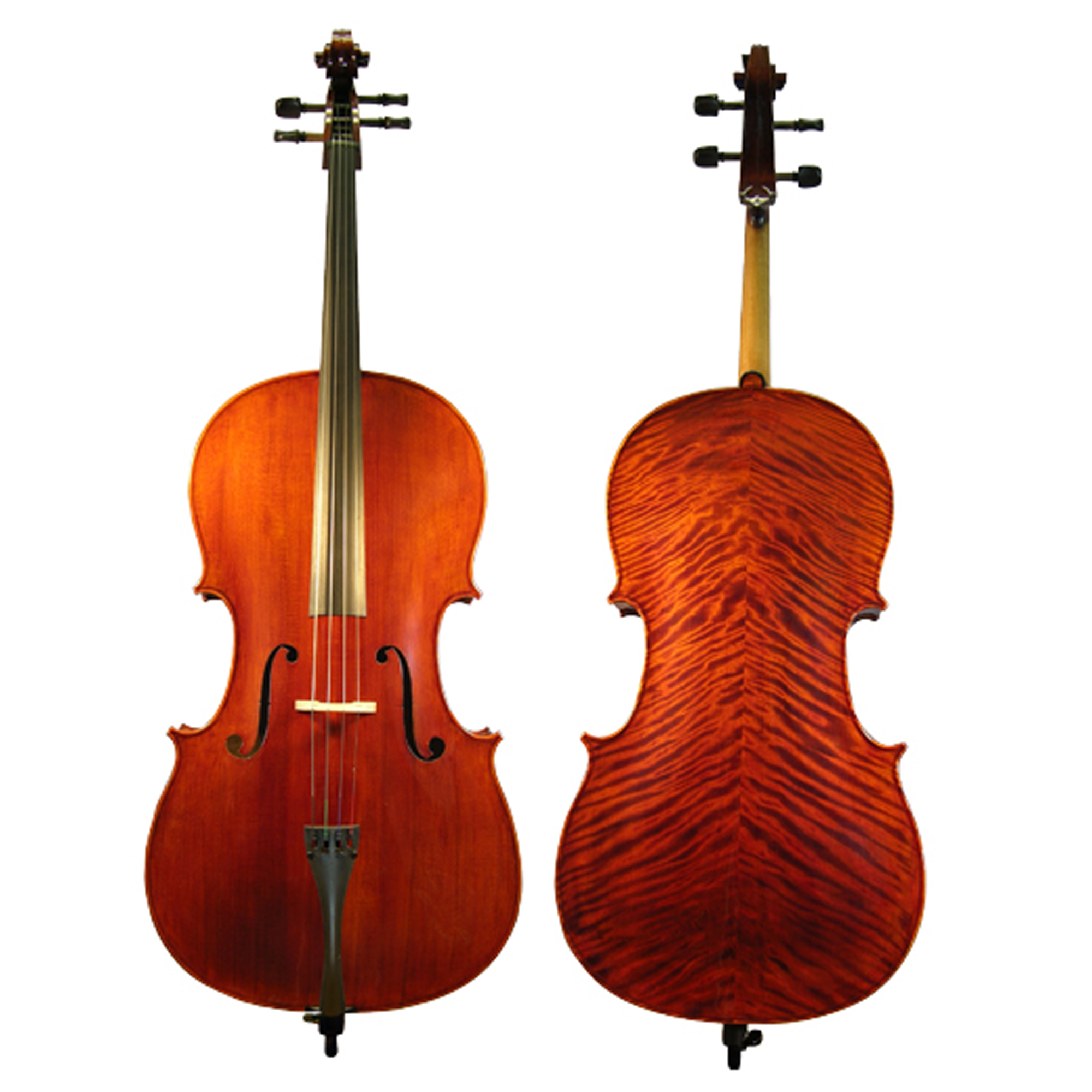 D'Luca Flamed Ebony Inlaid Professional Cello Outfit W/Padded Gig Bag, 1/2 Size