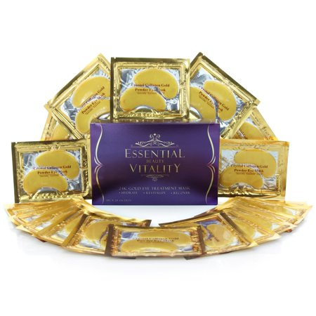 24k Gold Eye Mask - with Collagen (20 Pairs), Treatment for Puffy Eyes, Dark Circles, Under Eye Bags, Wrinkles
