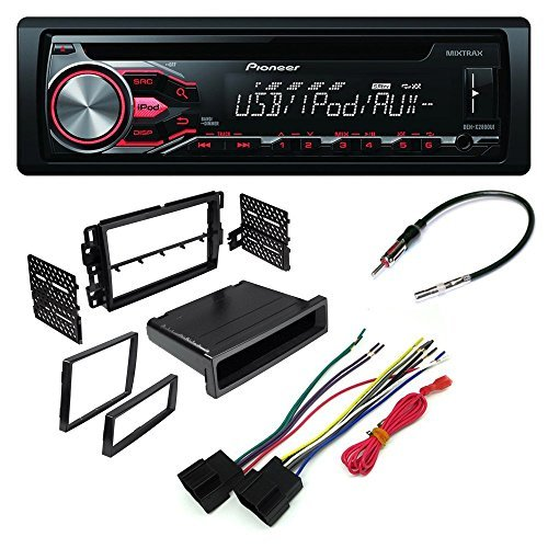 car cd stereo receiver dash install mounting kit wire harness radio antenna adapter buick