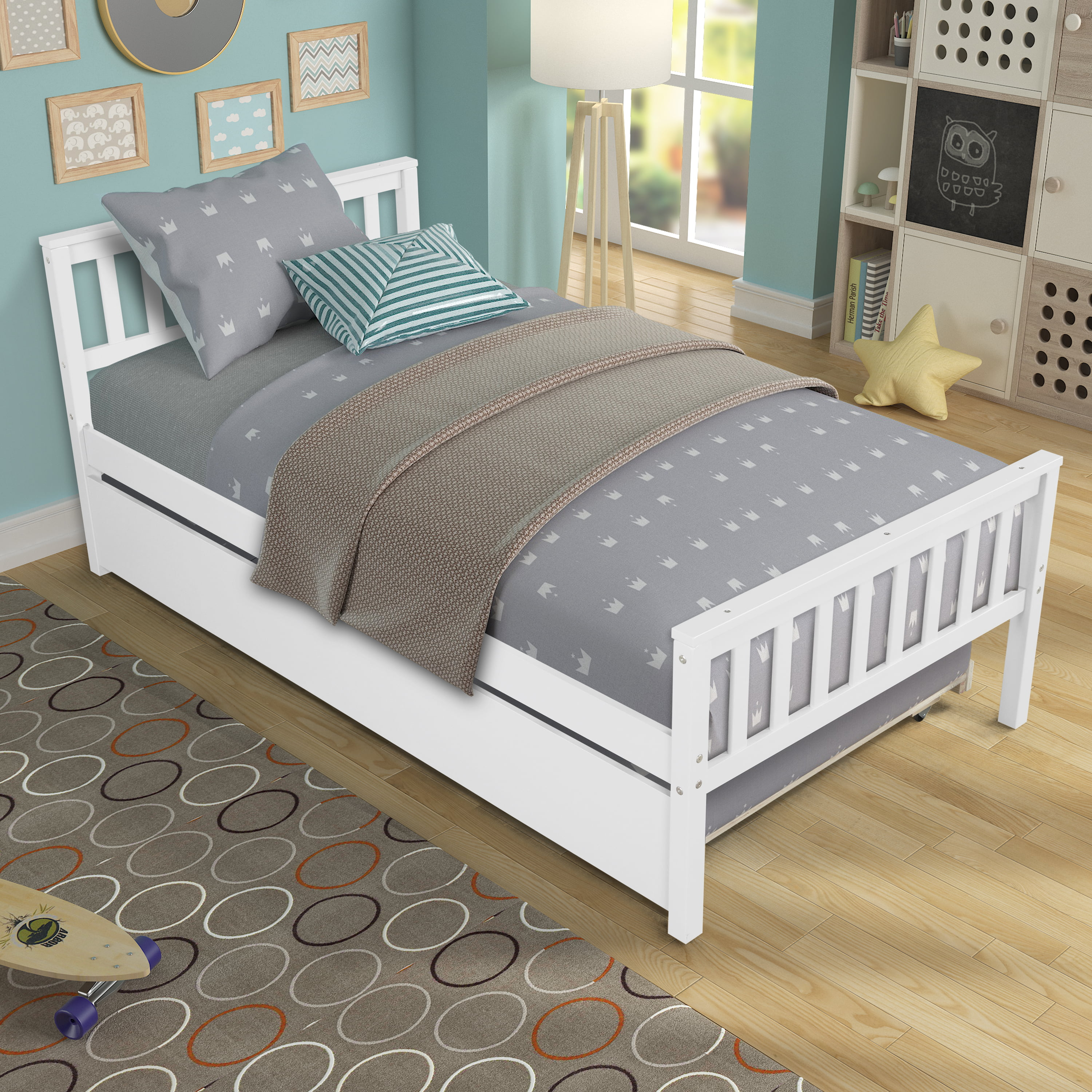 Twin Bed Frame with Trundle Bed, YOFE Kids Twin Bed Frame ...