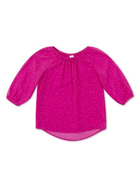 Wonder Nation Long Sleeve Printed Peasant Top (Little Girls, Big Girls & Plus)