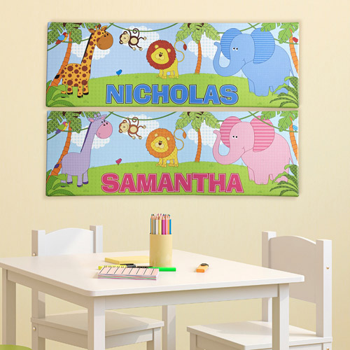 "Personalized Baby Jungle 6"" x 18"" Canvas"