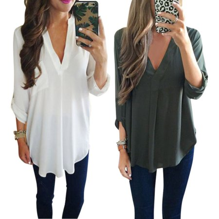EFINNY Plus Size S-3XL Women's Blouse Casual Loose Chiffon Long Sleeve Deep V T Shirt Autumn Tops - Long Sleeved Catsuit