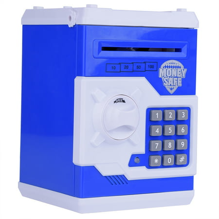 Blue Mini Safe Money Box Coin Saving Electronic Bank Can For Children Kids (Coin Sorting Bank)