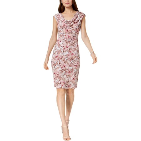 Connected Apparel Womens Floral Print Cowl Neck Party Dress