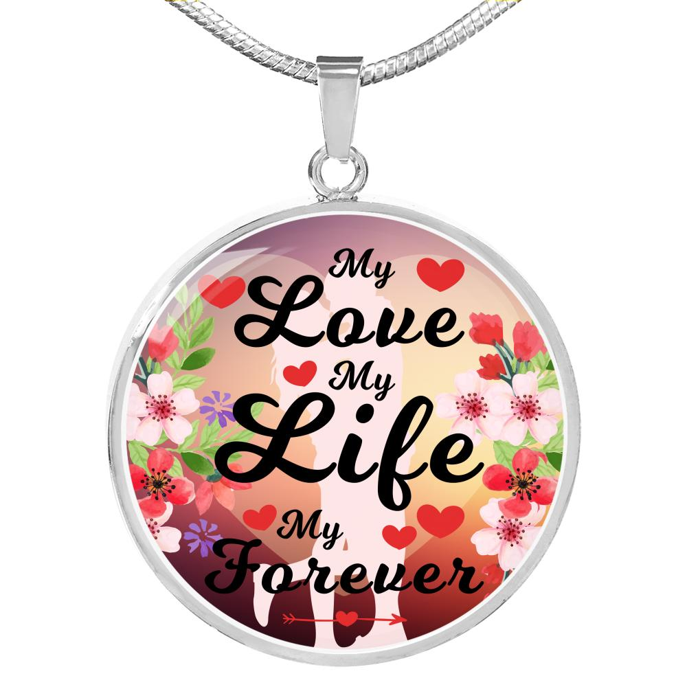 Express Your Love Gifts Faith Gift Circle Pendant Necklace Engraved Stainless Steel 18-22