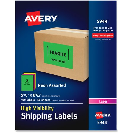 """Avery Neon Shipping Label, Laser, 5-1/2"""" x 8-1/2"""", Neon Assorted, 100 per Box"""