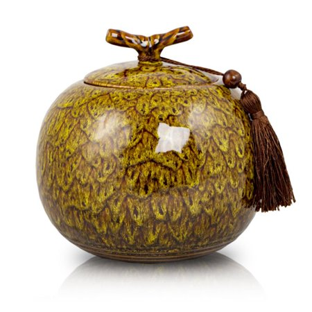 Ceramic Memorial Urn For Adults - Extra Large 240 Pounds -  Yellow Autumn Yellow - Engraving Sold Separately