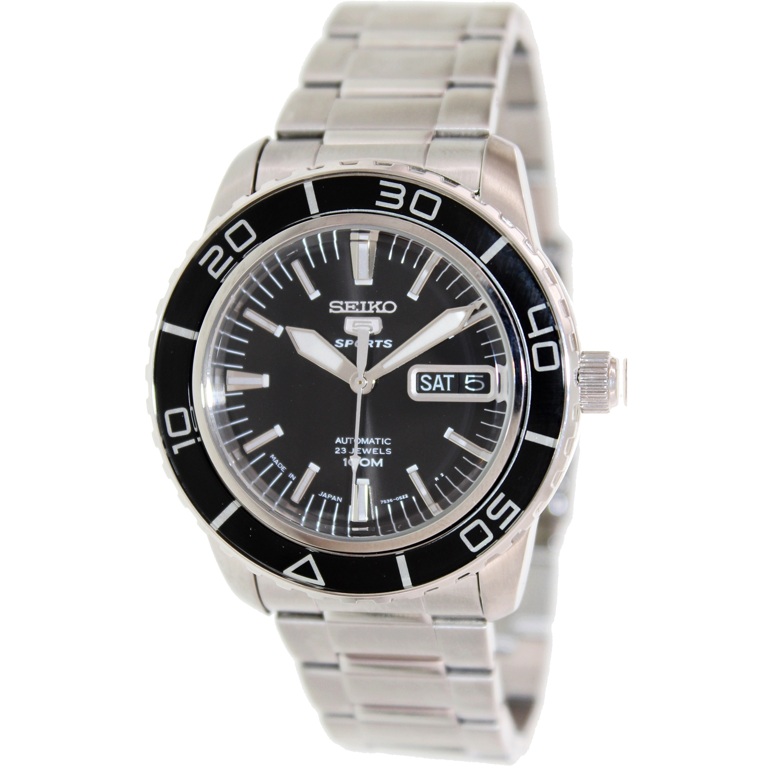 Seiko Men's 5 Automatic SNZH55K Silver Stainless-Steel Automatic Watch