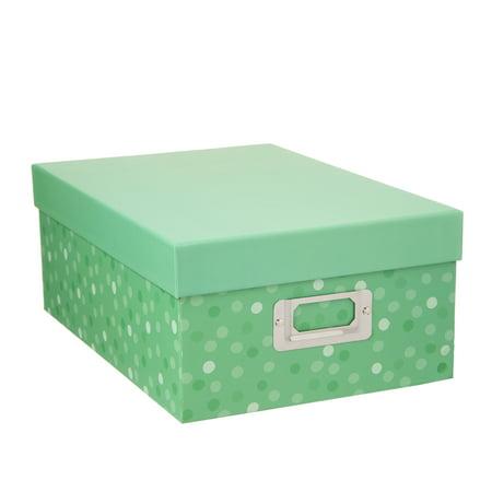 Decorative Photo Storage Box: Green Dots