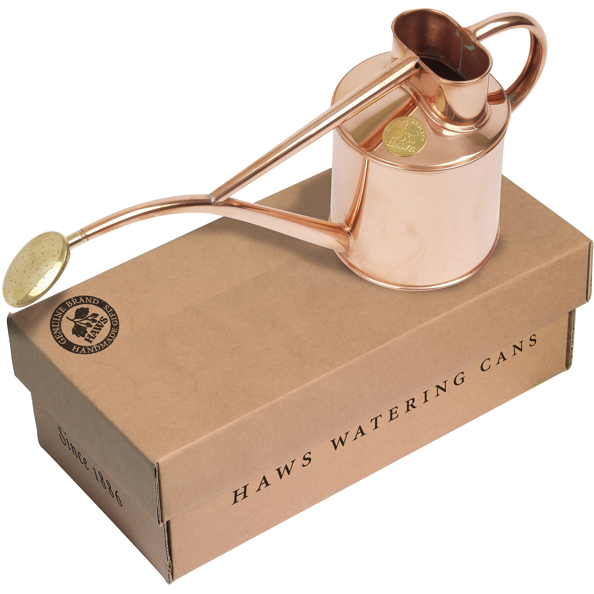 Haws Copp34 2-pint watering can with Haws Gift Box V181