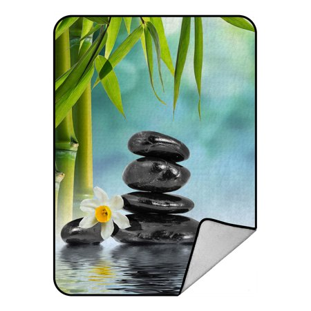 YKCG Pebble Stones Underwater in Lake with Bamboo Leaves Narcissus Daffodil Blanket Crystal Velvet Front and Lambswool Sherpa Fleece Back Throw Blanket - Best Buy Crystal Lake