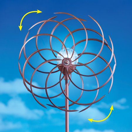 Double Pinwheel Wind Spinner with Glass Ball Solar Light - Outdoor Garden and Yard Decoration, Brown ()
