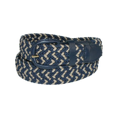 - Size Small (30-32) Mens Elastic Stretch Two Tone Belt with Matching Buckle, Navy/Khaki