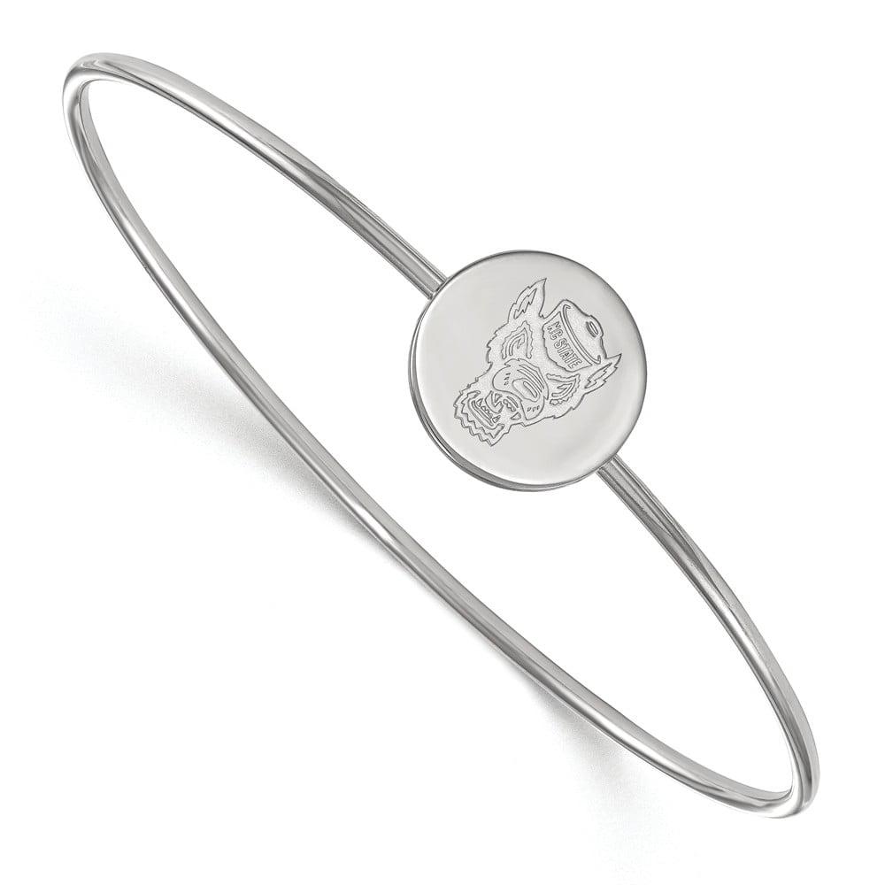 Sterling Silver LogoArt 7in Official Licensed Collegiate North Carolina State University (NCSU) Bangle Slip on