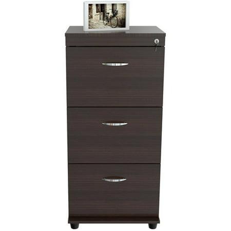 Inval 3 Drawer Vertical Wood Lockable Filing Cabinet ...