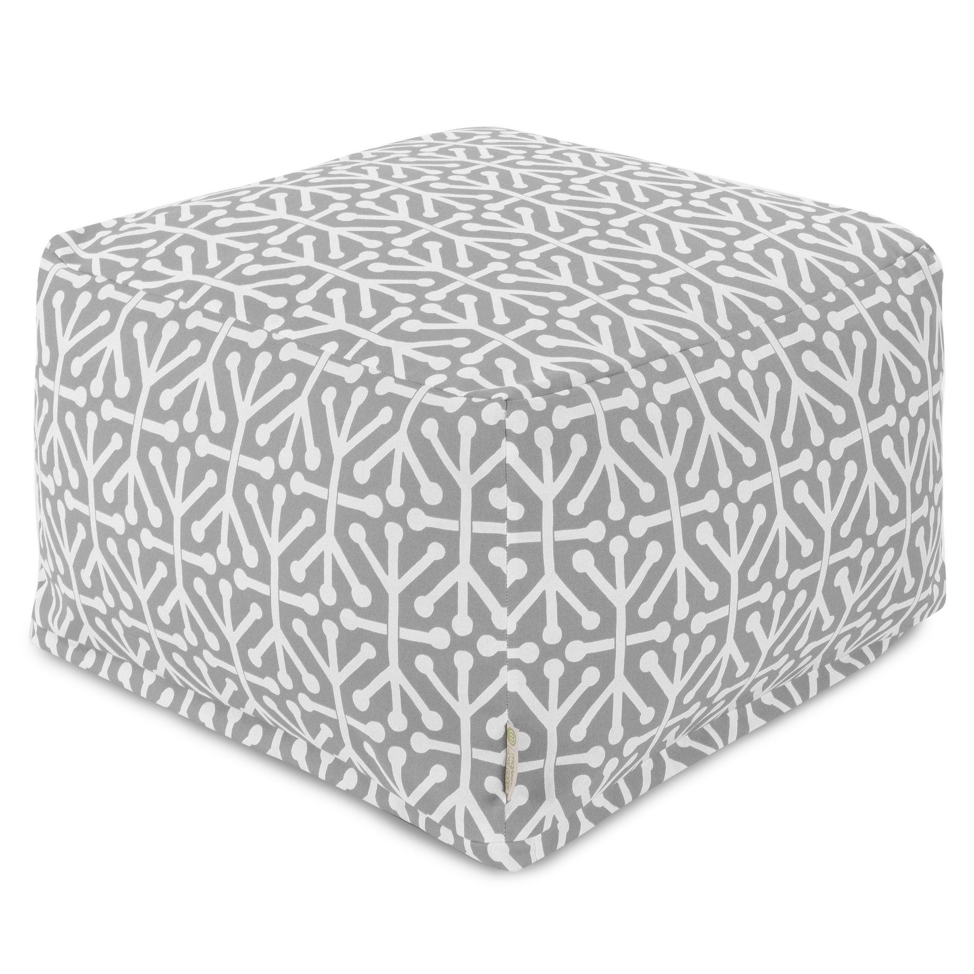 Majestic Home Goods Indoor Outdoor Treated Polyester Gray Aruba Ottoman Pouf