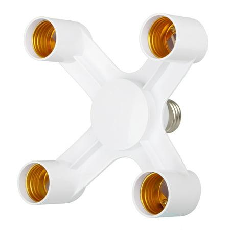 4 In 1 E27 To 4 E27 Base Socket Splitter LED Light Lamp Bulb Adapter Holder White