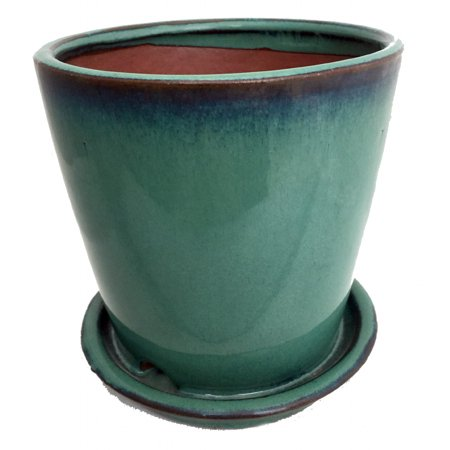 Round Ceramic Planter And Saucer 5 5 Quot Forest Green