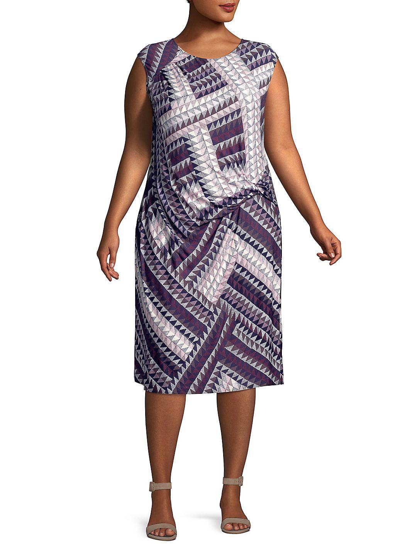Plus Graphic Brushstroke Dress