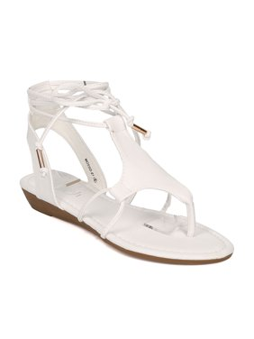 5fcb9aff6b6 Product Image New Women Refresh Mosso-01 PU Thong Micro Wedge Ankle Wrap  Gladiator Sandal